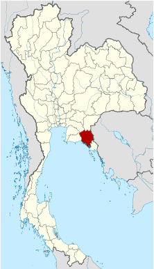 Map of Thailand highlighting Chanthaburi Province