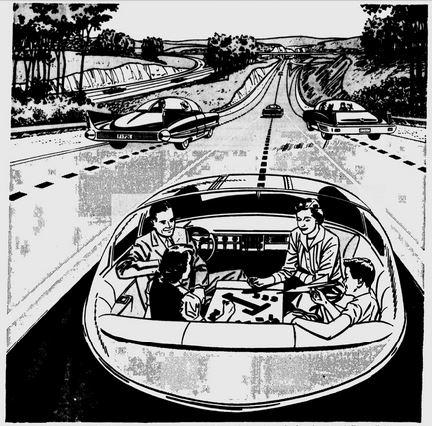 driverless car concept in the 1950s