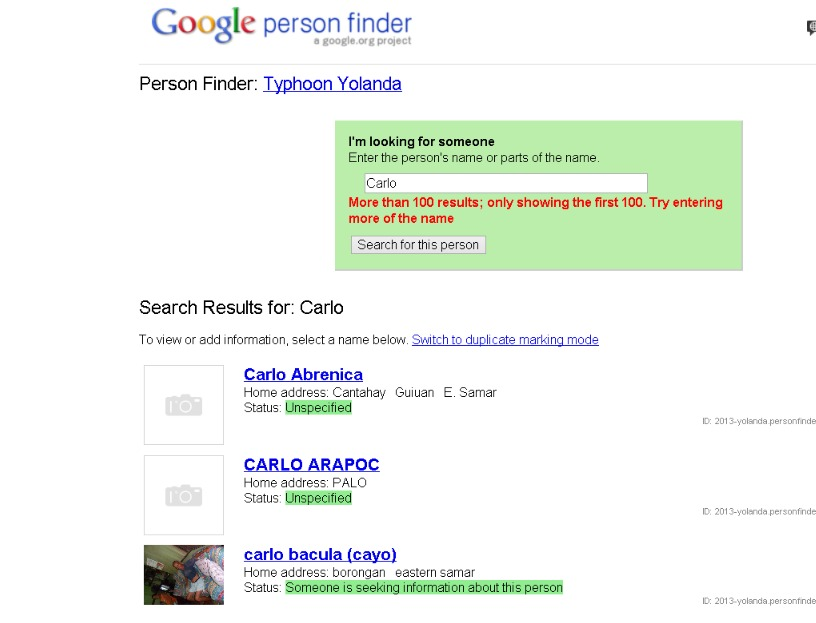 google person finder yolanda haiyan