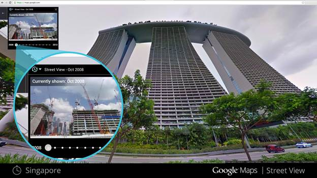 Singapore's Marina Bay Sands, before and after. Photo: Google