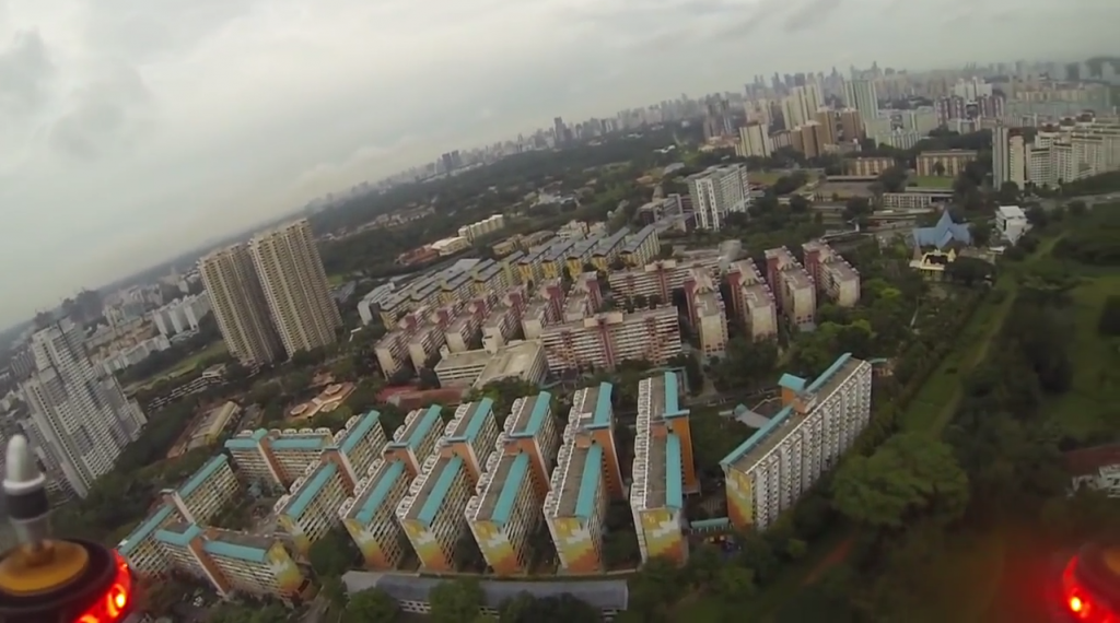 A view of a drone flying around in Singapore skies