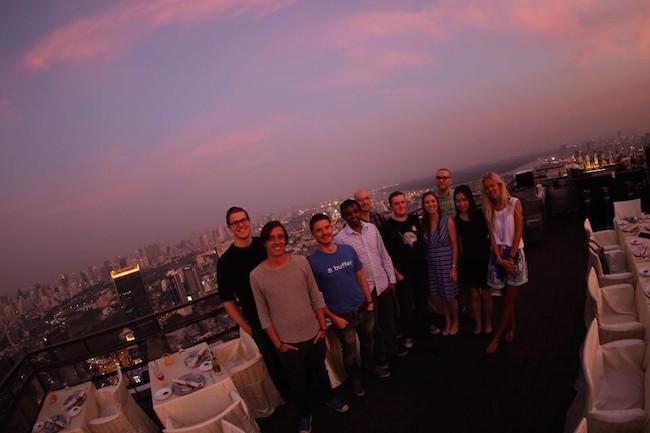 Enjoying the skyline with part of the Buffer team in Bangkok