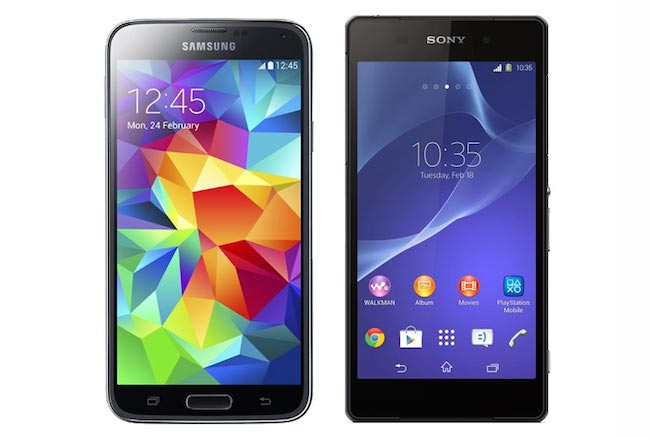 The S5 (left) and competitor Sony Xperia Z2 (right)