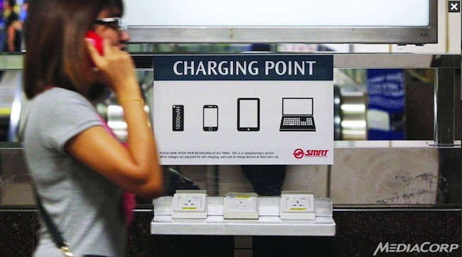 Over The Next Few Weeks Train Commuters In Singapore Will Be Able To Charge Their Mobile Devices For Free At Four Mrt Stations City Hall Orchard