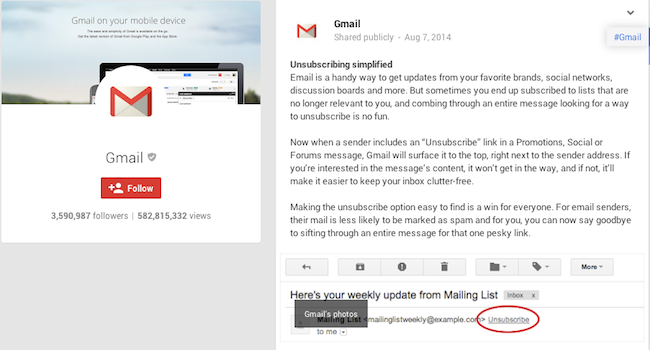 Gmail Unsubscribe Button. Image Credit: Google+
