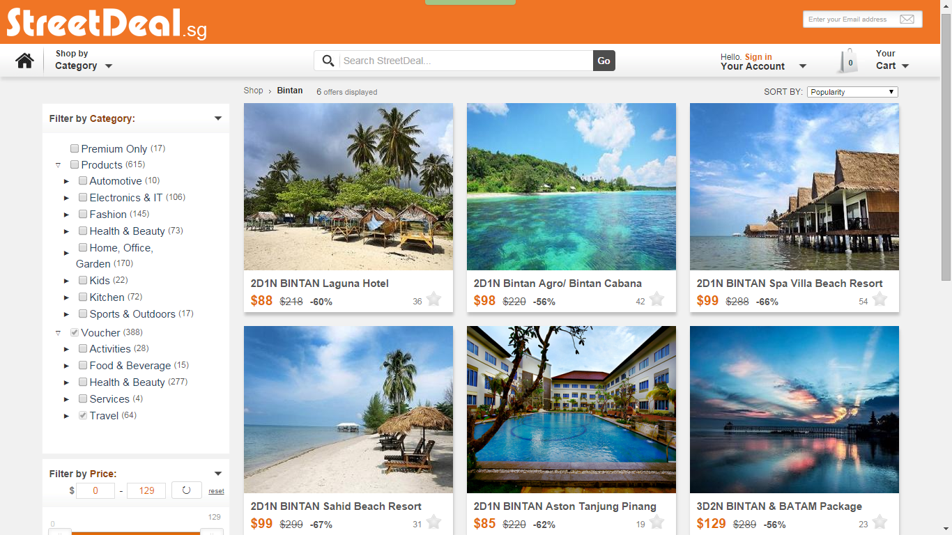 Print screen: Streetdeal Singapore's Website page for Travel packages