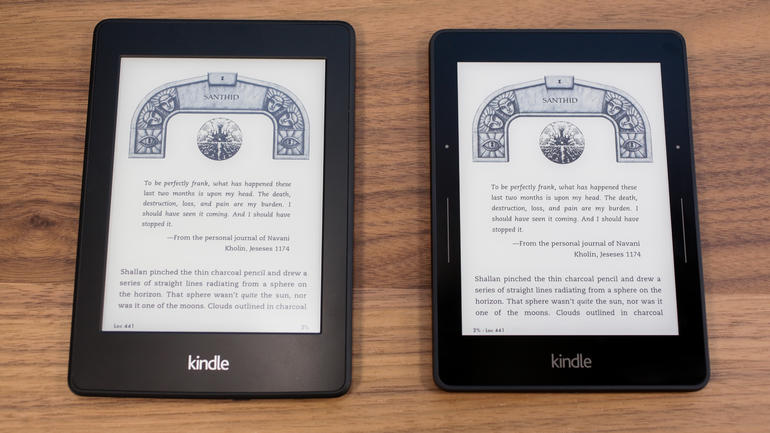 Kindle Paperwhite on the left and Kindle Voyage on the right (Image Credit: CNet)