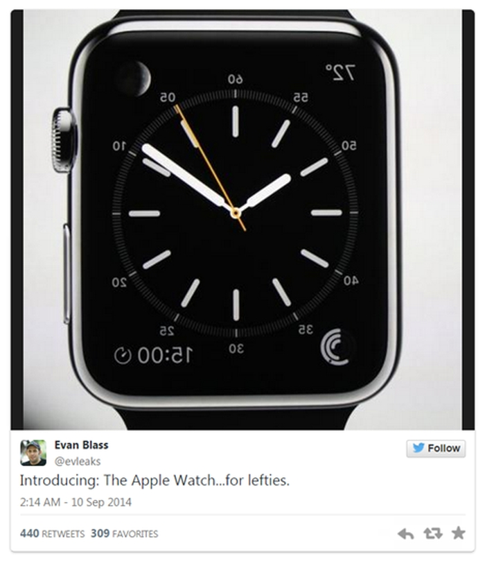 Upside down Apple Watch for Lefties