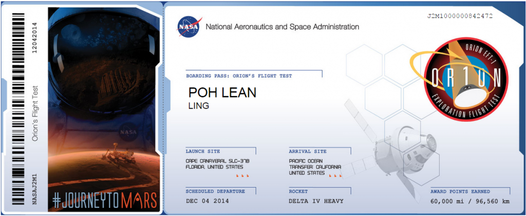 Boarding Pass for Orion Test Flight.