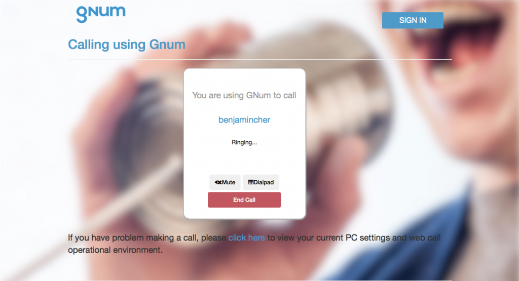 GNum Call screen