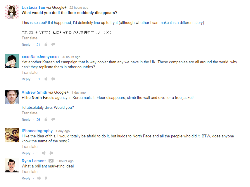 Some of the positive feedbacks on the stunt. Image credit: Print screen from YouTube.