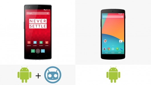OnePlus One (CyanogenMod) vs Nexus 5 (Stock Android) both running Android 4.4 KitKat [Image Credit: gizmag.com]