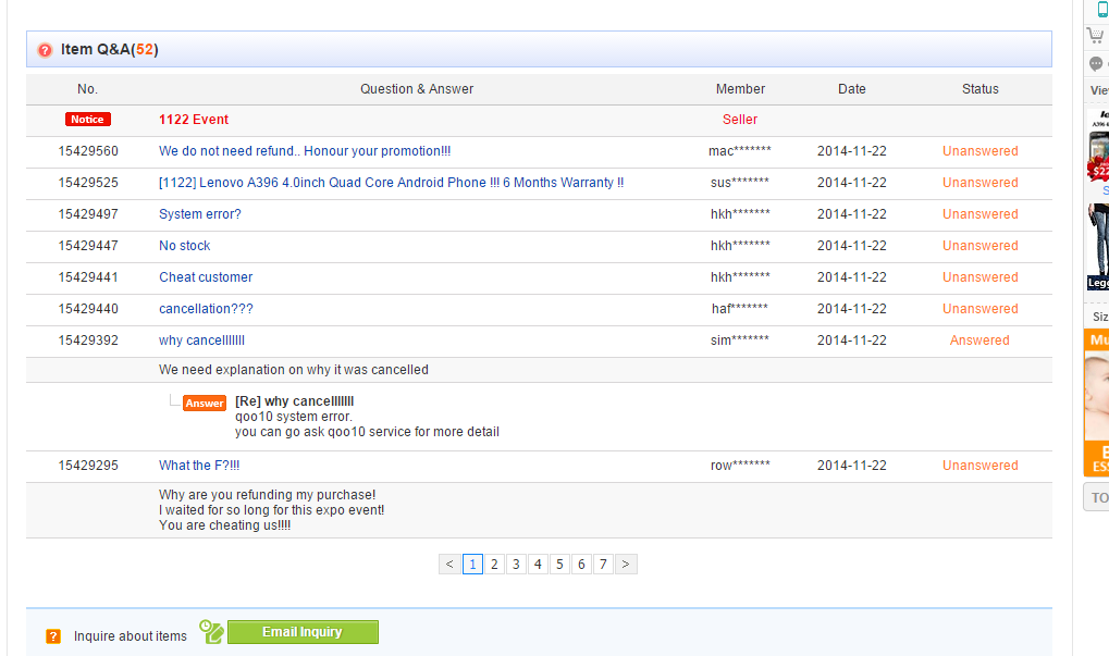 Screenshot of some of the complaints made against Zhiming Global.