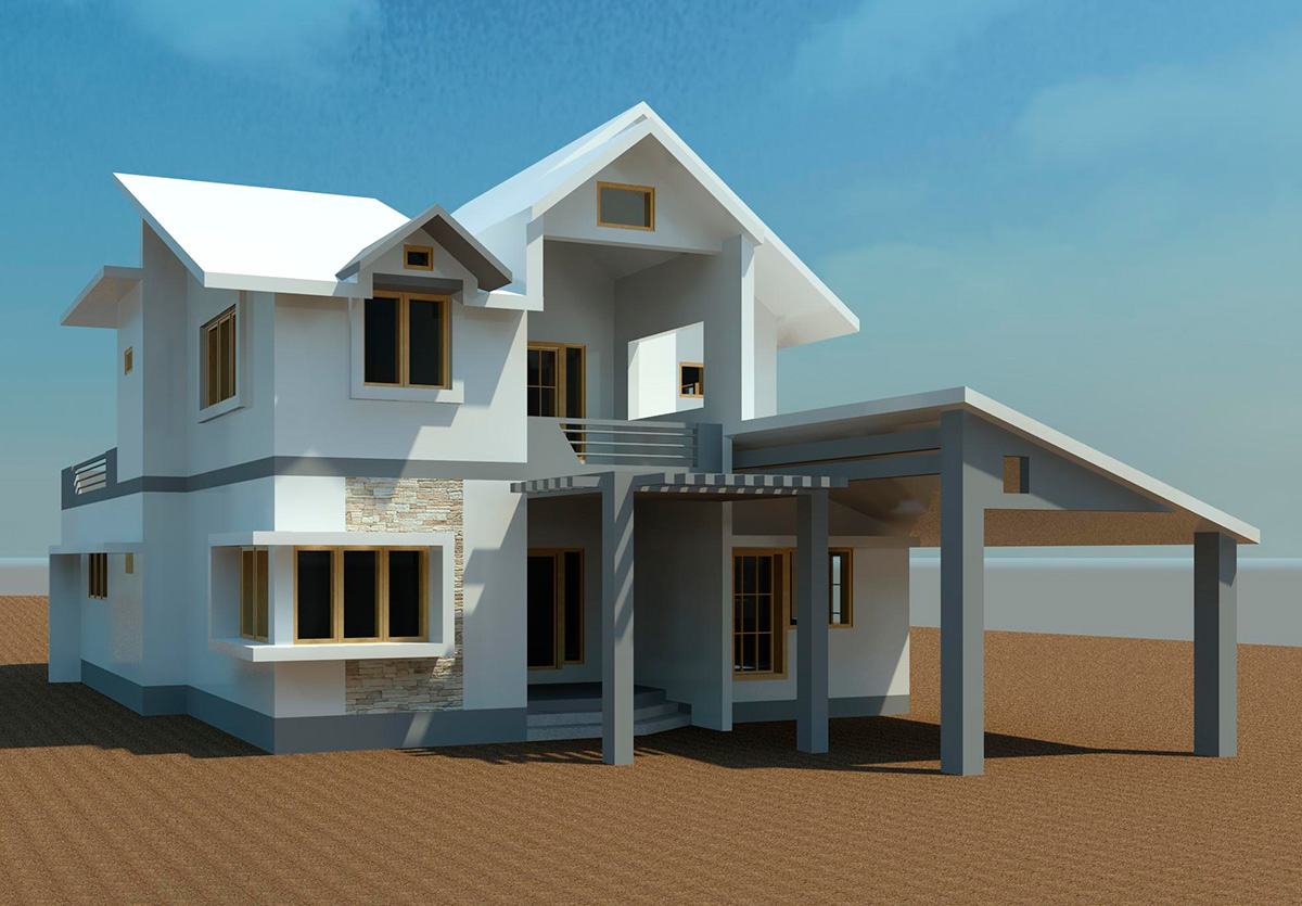 3D design of a villa made with Revit (Image Credit: http://www.skilllead.com)