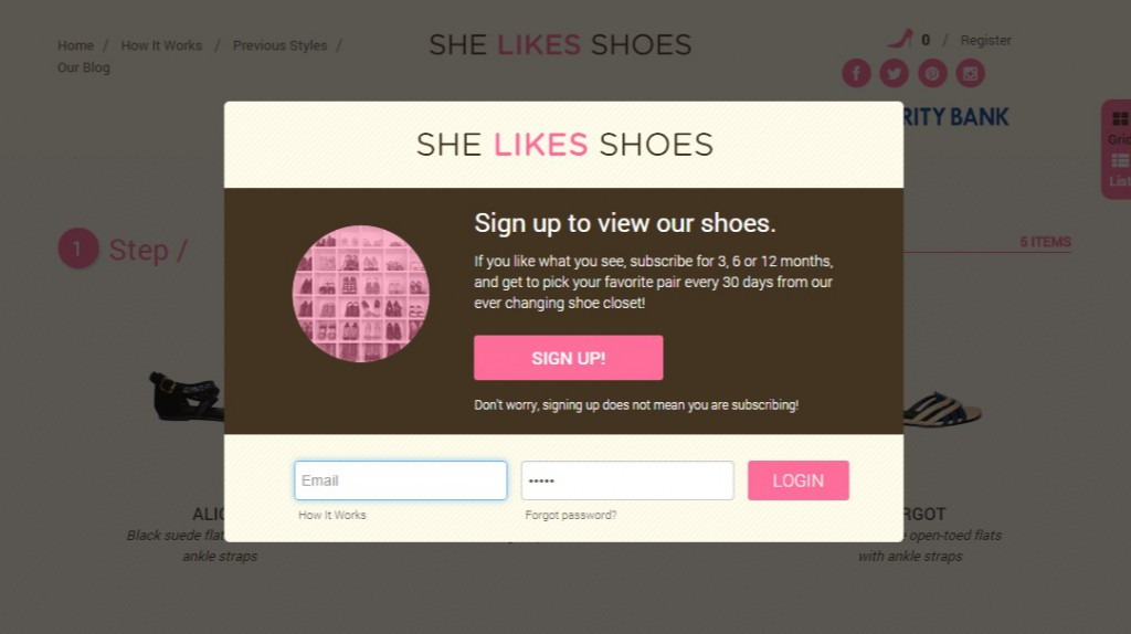 she likes shoes homepage