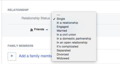 Relationship statuses on Facebook