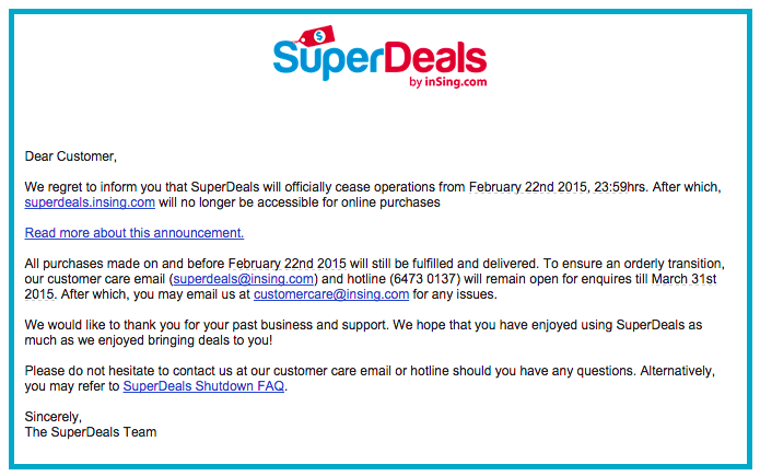 Superdeals shut down