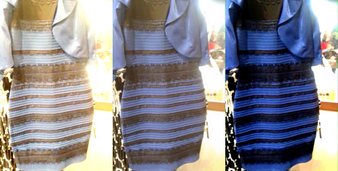 The original image is in the middle. At left, white-balanced as if the dress is white-gold. At right, white-balanced to blue-black