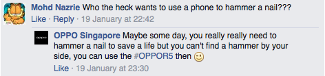 A screenshot from OPPO Singapore's Facebook page