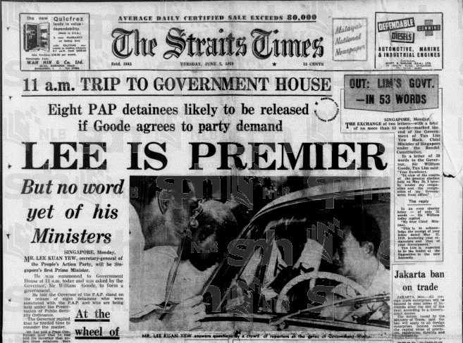The 1959 win made Lee Kuan Yew Singapore's first prime minister. (Image Credit: Newspaper SG, The Straits Times, NLB E-resources)