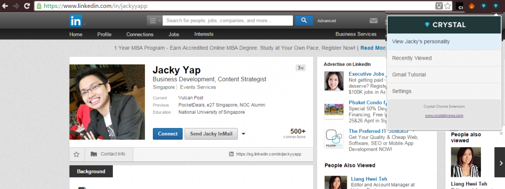 The LinkedIn profile of Jacky, founder and CEO of Vulcan Post