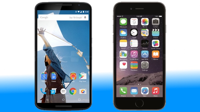 The Nexus 6 beside the iPhone 6 Plus. (Image Credit: phonearena.com)