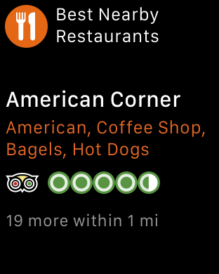 iOS Simulator screen shot of the app on the Apple Watch. (Image Credit: TripAdvisor)