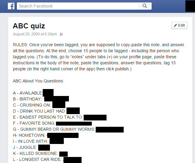 facebook notes abc quiz