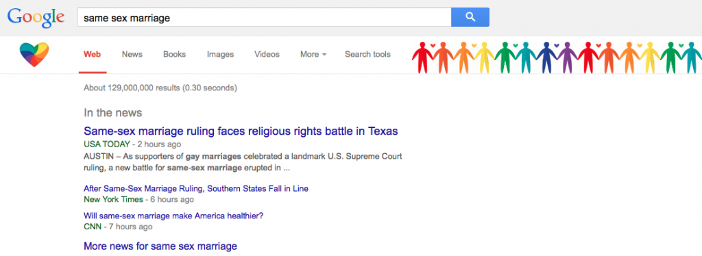 "Something magical appears when you enter a search on Google containing the terms ""same sex marriage""."