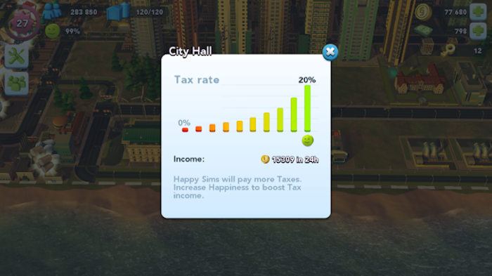 SimCity BuiltIt tax rate