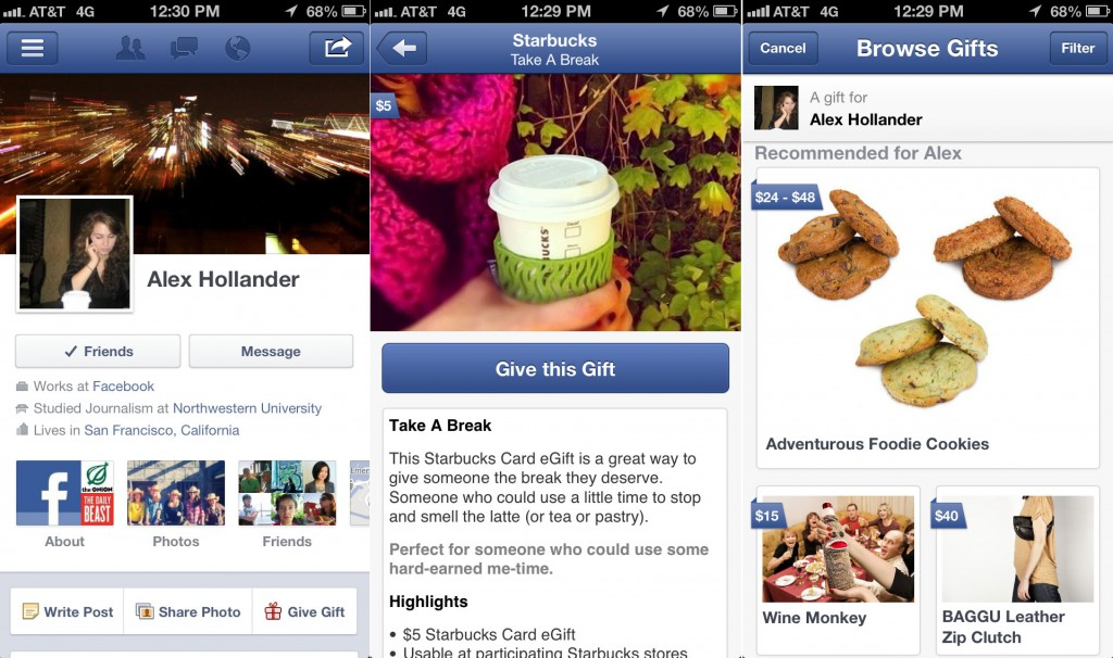 The now defunct Facebook gifting feature. Image Credit: TheNextWeb