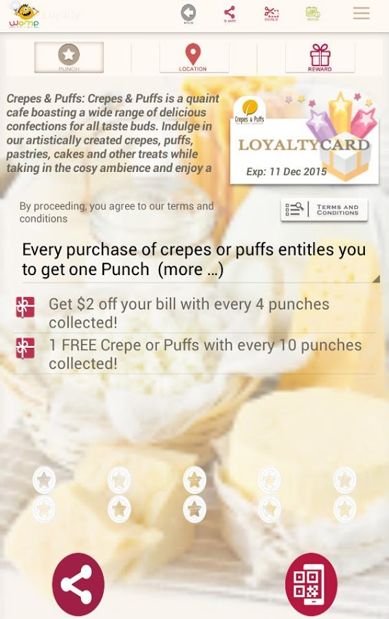 Some of the rewards users can get in exchange for loyalty 'punches'. (Image Credit: Google Play)