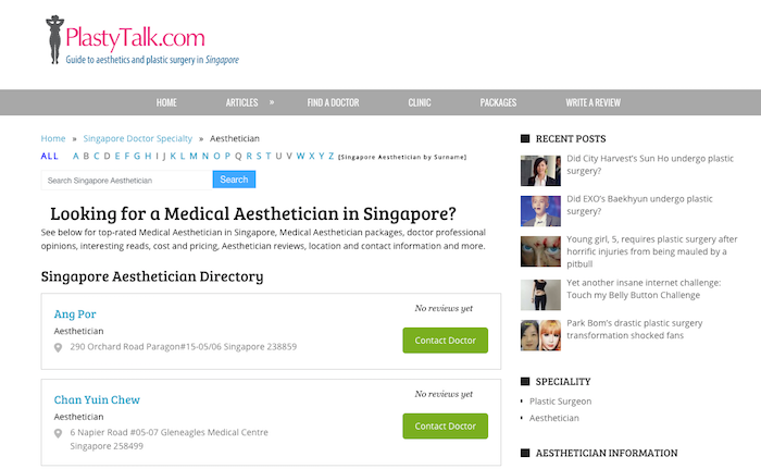 You can search for aesthetics doctors on PlastyTalk.