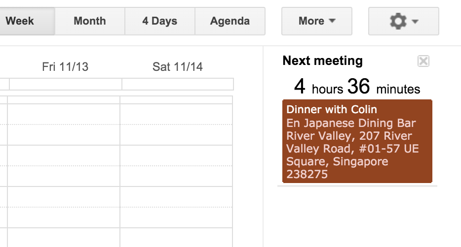 Next meeting google calendar