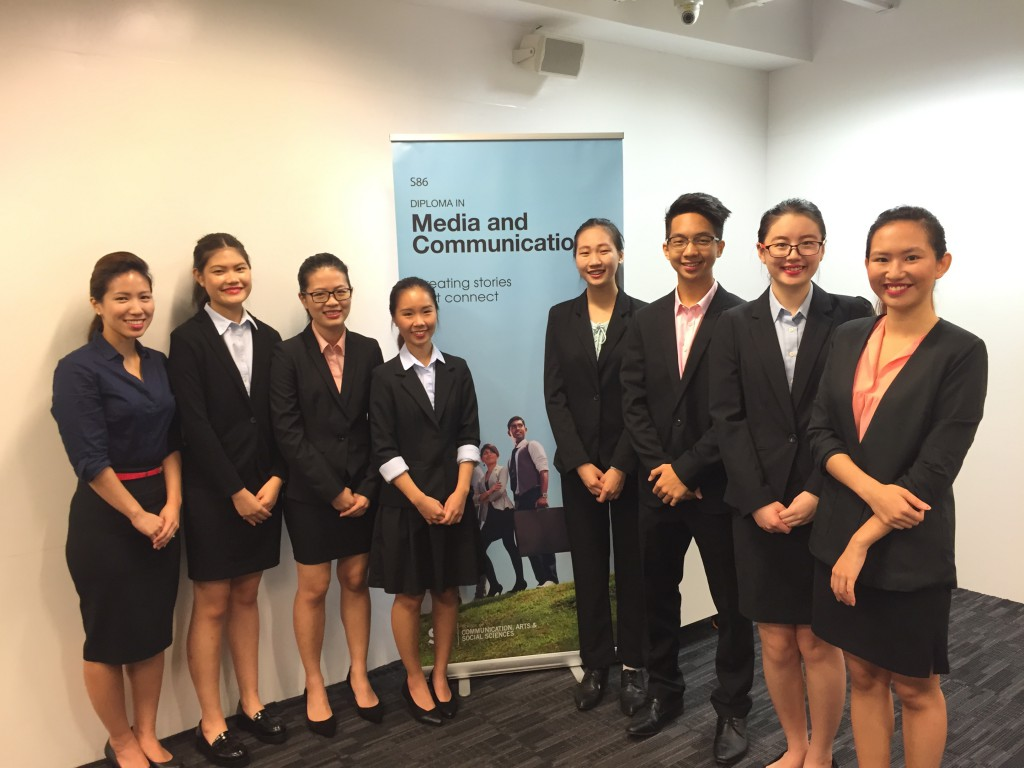 SP's Diploma in Media and Communication students (from left) Claire Ang, Elizabeth Foo, Audrey Ling, Chua Pei Xuan, Nicholas Sim, Chong Joo Xuan and Chong Han Lyn presented their findings at the Mass Media Research Press Conference today.