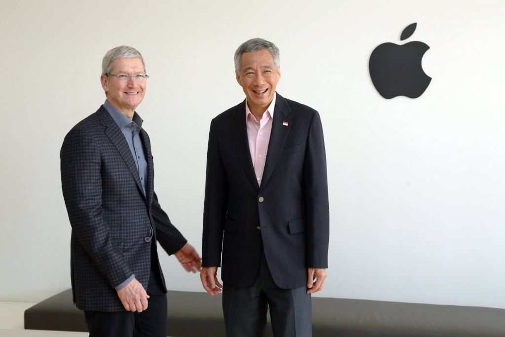 PM Lee with Apple CEO Tim Cook. Image Credit: Facebook