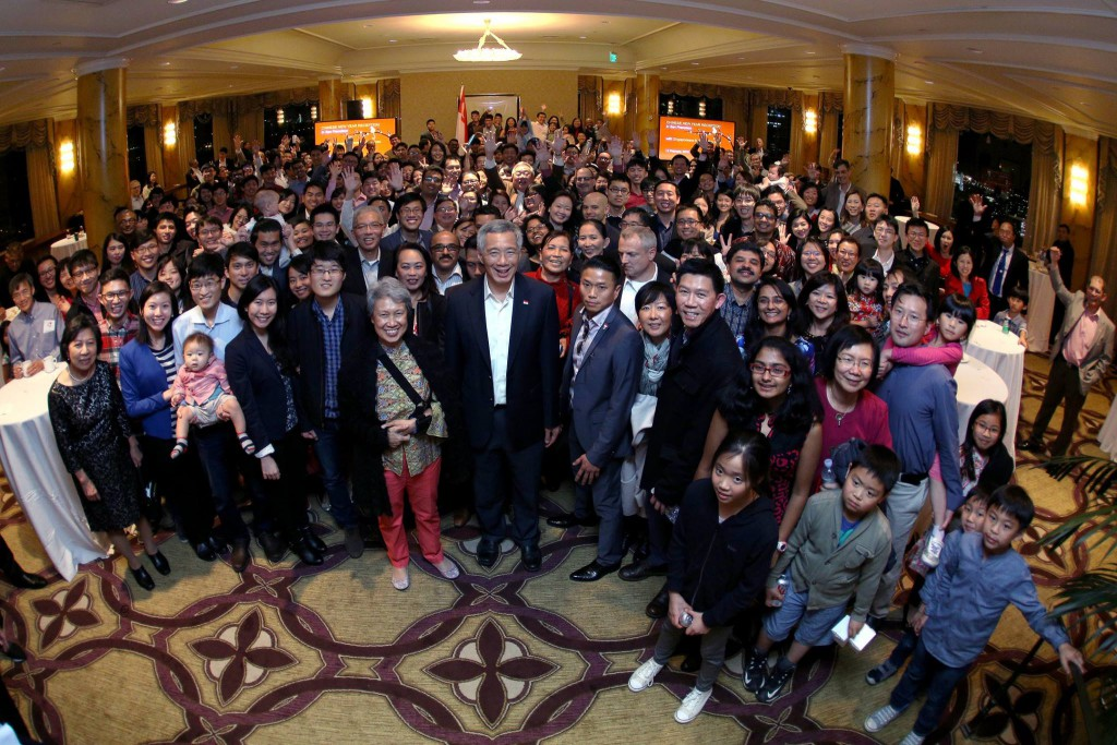"PM Lee: ""The Singapore family in San Francisco. They include students, working professionals and families. Some flew in from out of state for the Chinese New Year Reception and lohei."""