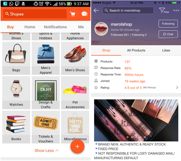 Image Credit: Shopee Singapore app - (L to R) Android interface, iPhone interface
