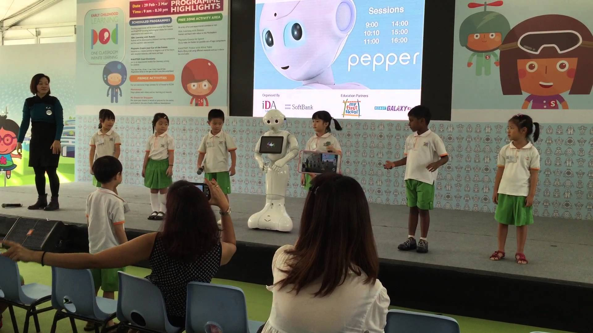 "Kindergarten children putting on a dance performance with social robot ""Pepper"""
