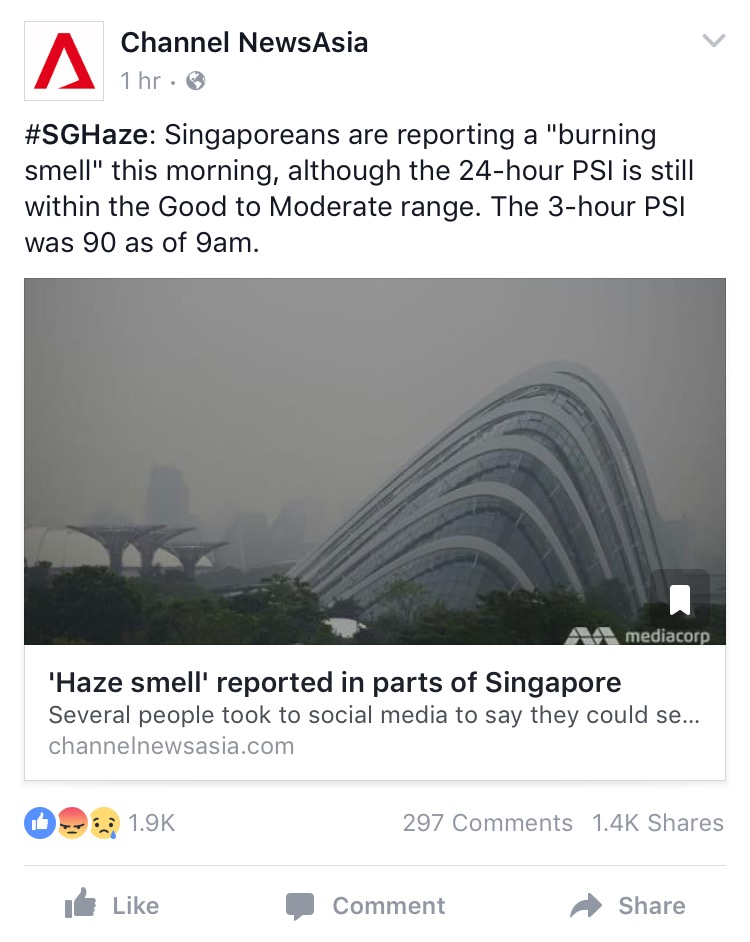 Picture of CNA saying PSI is in the good to moderate range earlier in the morning/ Image Credit: Channel News Asia Facebook (screenshot)