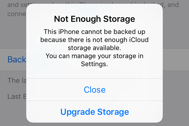 notification showing insufficient space in the iCloud storage/ image credit: idownloadblog.com