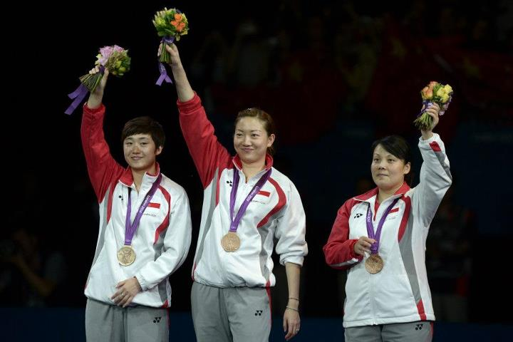 2012 Olympic Games Bronze medallists Feng Tianwei, Li Jiawei and Wang Yuegu/ image credit: eastcoastlife.blogspot.com