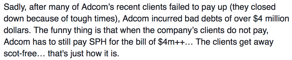 Clients failing to pay up resulted in Adcom's debts