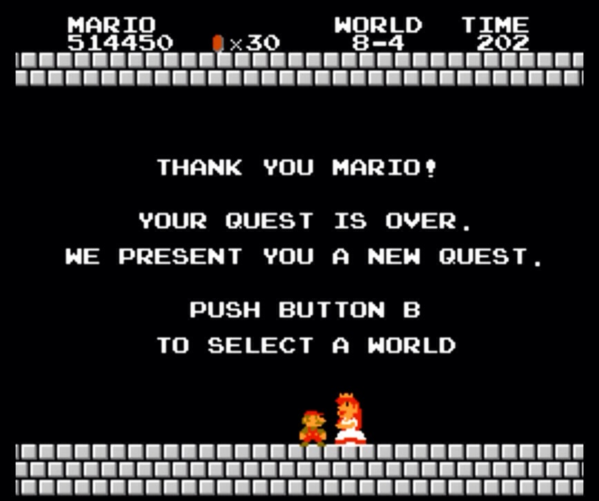 Mario saves Princess Peach and the game ends/ Image Credit: gaygeekgab.com