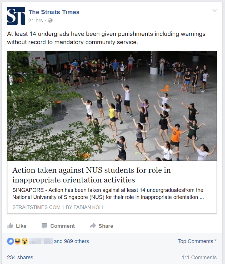 Screenshot: The Straits Times Facebook