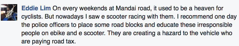 Comments on Straits Times Facebook about e-scooters