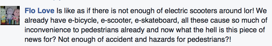 Comment on Straits Times Facebook about e-scooters