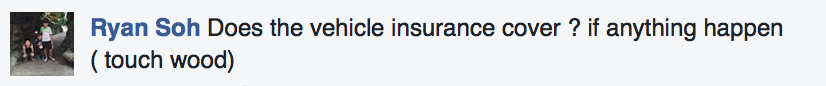 Schoolber's Facebook comment asking about insurance
