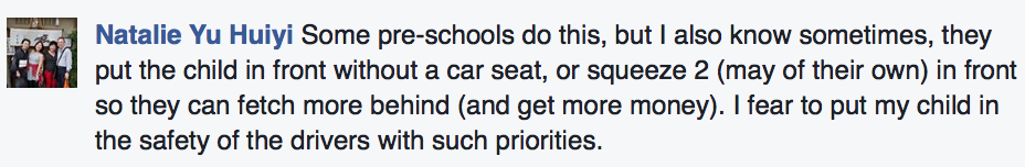 Parent's comment on their child's safety with Schoolber