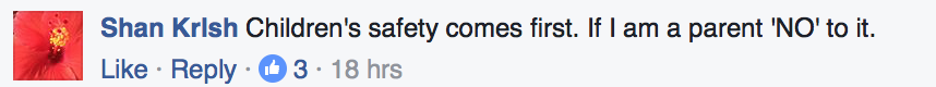 TODAY's Facebook comment on children's safety